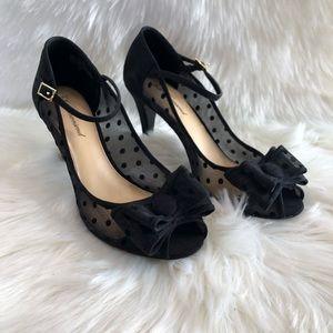 Lulu Townsend Polka Dot Bow Ankle Strap Heels